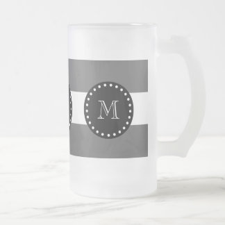 Charcoal Gray White Stripes Pattern, Black Monogra Frosted Glass Beer Mug