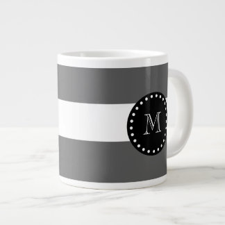 Charcoal Gray White Stripes Pattern, Black Monogra Giant Coffee Mug