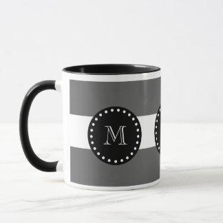 Charcoal Gray White Stripes Pattern, Black Monogra Mug