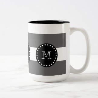 Charcoal Gray White Stripes Pattern, Black Monogra Two-Tone Coffee Mug