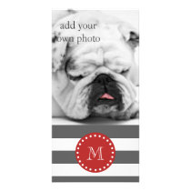 Charcoal Gray White Stripes Pattern, Red Monogram Card