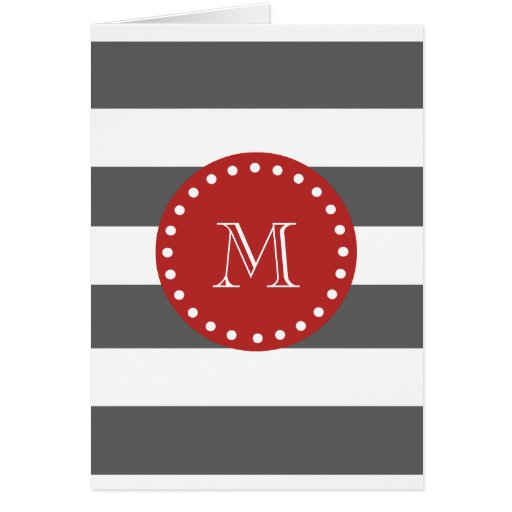 Charcoal Gray White Stripes Pattern, Red Monogram Greeting Card