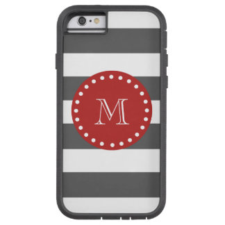 Charcoal Gray White Stripes Pattern, Red Monogram Tough Xtreme iPhone 6 Case
