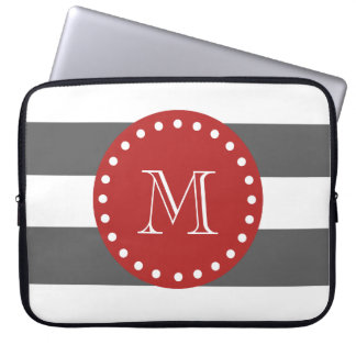 Charcoal Gray White Stripes Pattern, Red Monogram Computer Sleeve