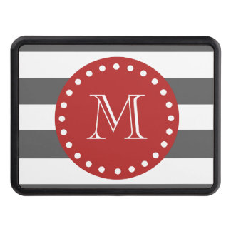 Charcoal Gray White Stripes Pattern, Red Monogram Hitch Cover