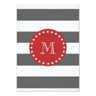 "Charcoal Gray White Stripes Pattern, Red Monogram 4.5"" X 6.25"" Invitation Card"