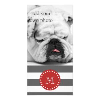 Charcoal Gray White Stripes Pattern, Red Monogram Photo Card