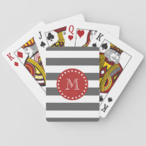 Charcoal Gray White Stripes Pattern, Red Monogram Playing Cards