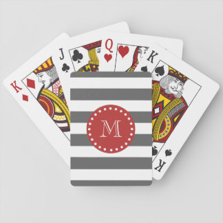 Charcoal Gray White Stripes Pattern, Red Monogram Poker Deck