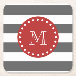 Charcoal Gray White Stripes Pattern, Red Monogram Square Paper Coaster