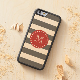 Charcoal Gray White Stripes Pattern, Red Monogram Carved® Maple iPhone 6 Bumper