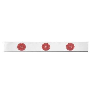Charcoal Gray White Stripes Pattern, Red Monogram Satin Ribbon