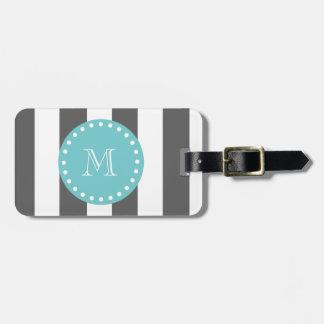 Charcoal Gray White Stripes Pattern, Teal Monogram Bag Tag