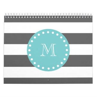 Charcoal Gray White Stripes Pattern, Teal Monogram Wall Calendar