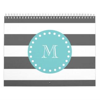 Charcoal Gray White Stripes Pattern, Teal Monogram Calendar