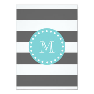 "Charcoal Gray White Stripes Pattern, Teal Monogram 4.5"" X 6.25"" Invitation Card"