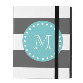 Charcoal Gray White Stripes Pattern, Teal Monogram iPad Case