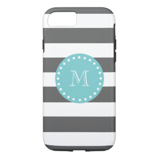 Charcoal Gray White Stripes Pattern, Teal Monogram iPhone 7 Case