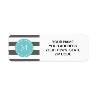Charcoal Gray White Stripes Pattern, Teal Monogram Label