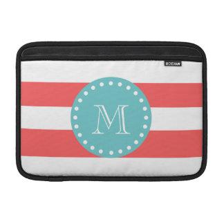 Charcoal Gray White Stripes Pattern, Teal Monogram MacBook Sleeve