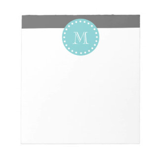 Charcoal Gray White Stripes Pattern, Teal Monogram Notepad