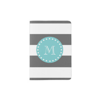 Charcoal Gray White Stripes Pattern, Teal Monogram Passport Holder