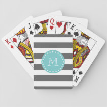 Charcoal Gray White Stripes Pattern, Teal Monogram Playing Cards