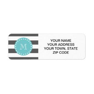 Charcoal Gray White Stripes Pattern, Teal Monogram Return Address Label