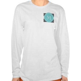 Charcoal Gray White Stripes Pattern, Teal Monogram Shirt