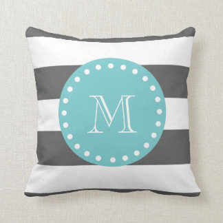 Charcoal Gray White Stripes Pattern, Teal Monogram Throw Pillow