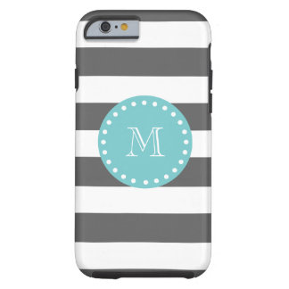 Charcoal Gray White Stripes Pattern, Teal Monogram Tough iPhone 6 Case