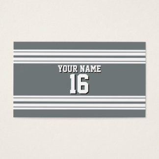 Charcoal Gray White Team Jersey Custom Number Name Business Card