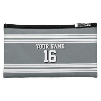 Charcoal Gray White Team Jersey Custom Number Name Cosmetic Bag