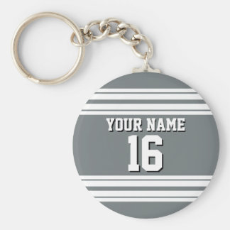 Charcoal Gray White Team Jersey Custom Number Name Keychain