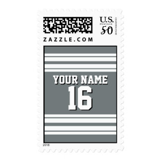Charcoal Gray White Team Jersey Custom Number Name Postage
