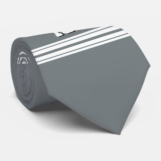 Charcoal Gray White Team Jersey Custom Number Name Tie