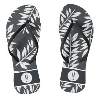 Charcoal Gray with White Cabana with Monogram Flip Flops