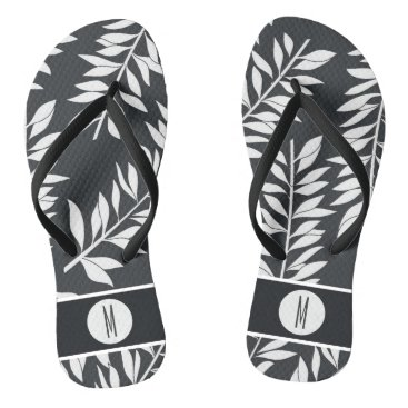 Beach Themed Charcoal Gray with White Cabana with Monogram Flip Flops