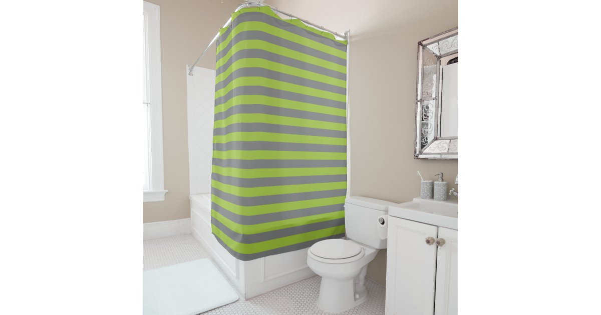 Charcoal Grey And Apple Green Stripes Shower Curtain