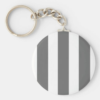 Charcoal Grey and White Cabana Stripes Basic Round Button Keychain