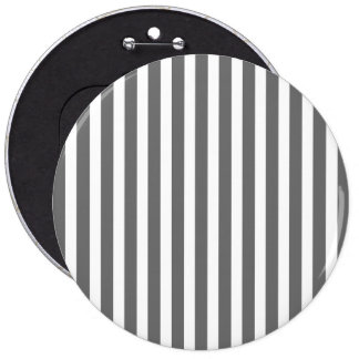 Charcoal Grey and White Cabana Stripes 6 Inch Round Button