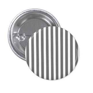 Charcoal Grey and White Cabana Stripes 1 Inch Round Button