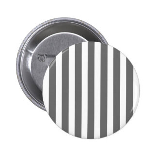 Charcoal Grey and White Cabana Stripes 2 Inch Round Button