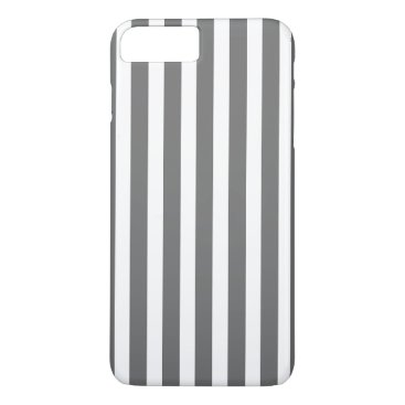 Beach Themed Charcoal Grey and White Cabana Stripes iPhone 7 Plus Case