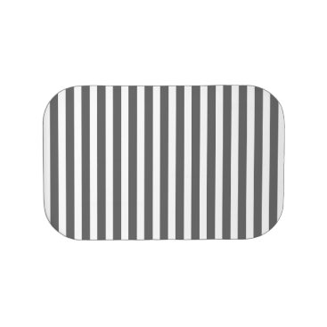 Beach Themed Charcoal Grey and White Cabana Stripes Lunch Box