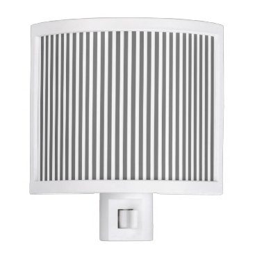 Beach Themed Charcoal Grey and White Cabana Stripes Night Light