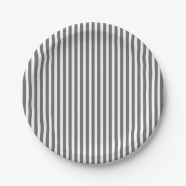 Beach Themed Charcoal Grey and White Cabana Stripes Paper Plate