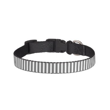 honor_and_obey Charcoal Grey and White Cabana Stripes Pet Collar