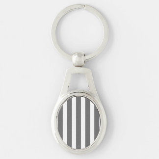 Charcoal Grey and White Cabana Stripes Silver-Colored Oval Metal Keychain