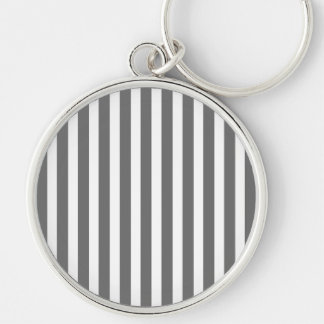 Charcoal Grey and White Cabana Stripes Silver-Colored Round Keychain